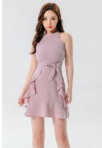 Jossie Pink Mini Dress with belt and Ruffles