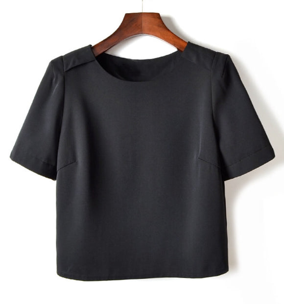 Lyla black short-sleeve back-button-feature blouse