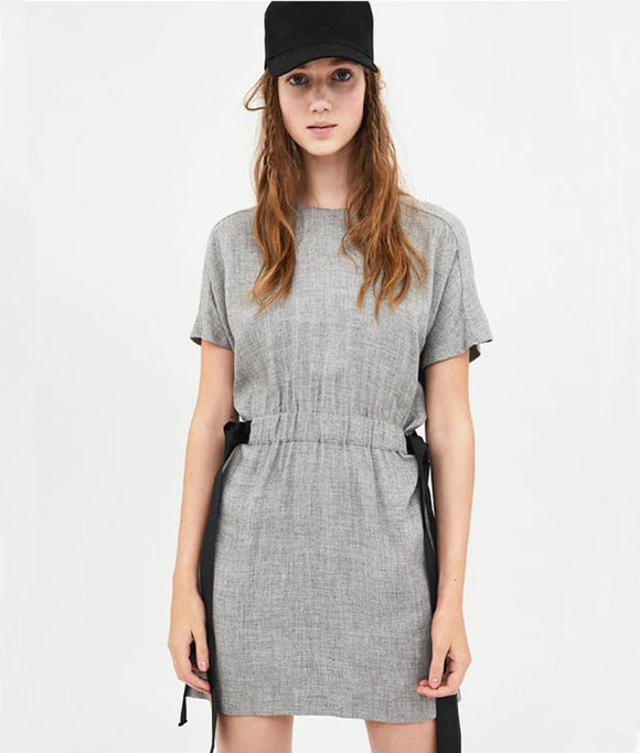 Ash-Grey dress with black-ties