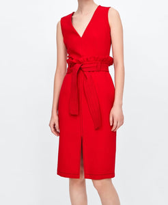 Red Midi gathered-waist Dress with belt
