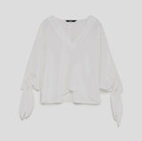 Maxims white V-neck top with knot-tie sleeves