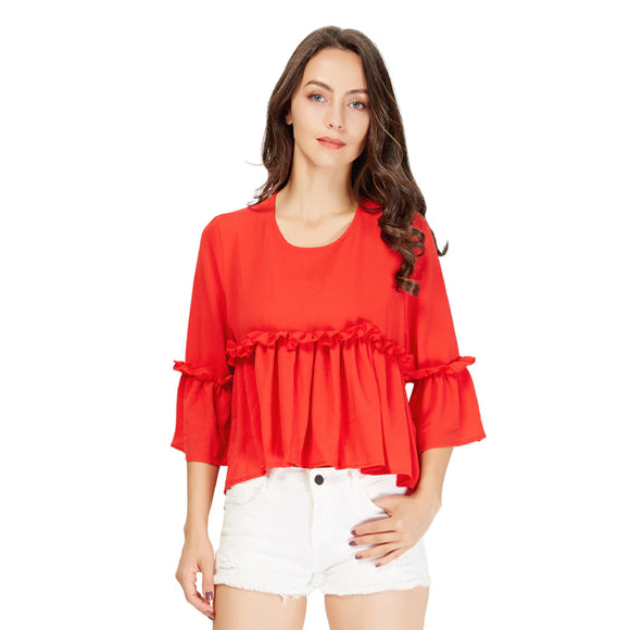 Vestido Ruffles Red Blouse