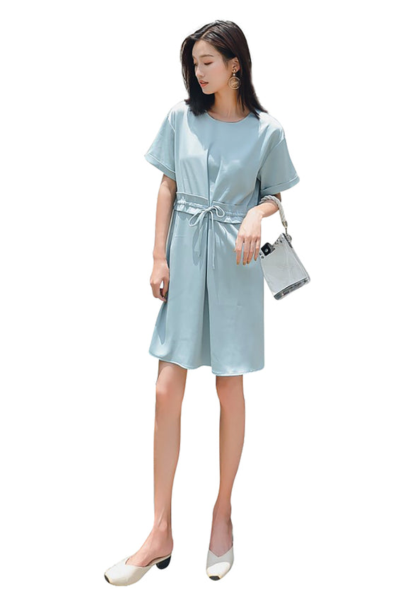 Glacier blue Self-tie gathered waist Mini Dress