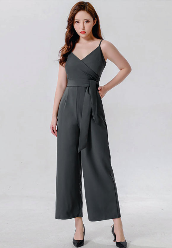 Glenn dark Green jumpsuit with self-tie belt