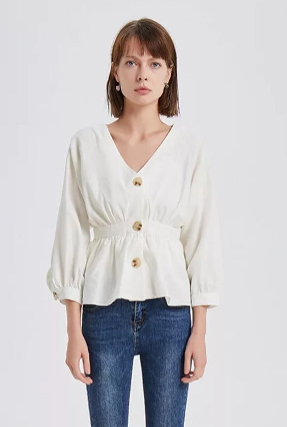 Beige button down blouse