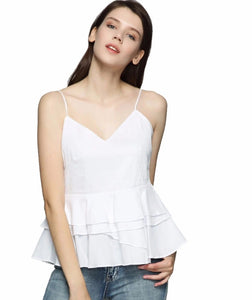Housten Spaghetti-strap white peplum top