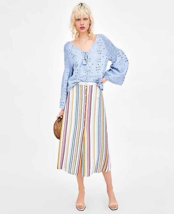 Multi-colored striped Button-thru Midi Skirt