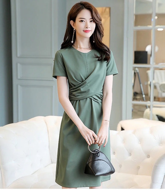 Army-green Wrap-frontal Midi dress