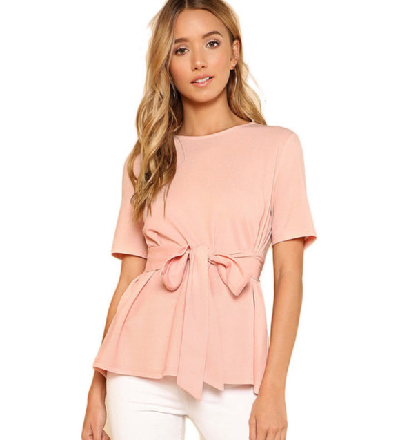 Victoria Self-belt soft-pink blouse