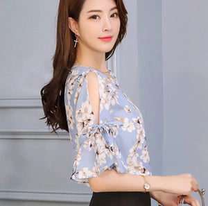 Cold shoulder floral-prints pale blue blouse