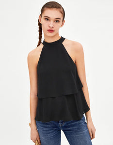 Danella Layered black Halter top