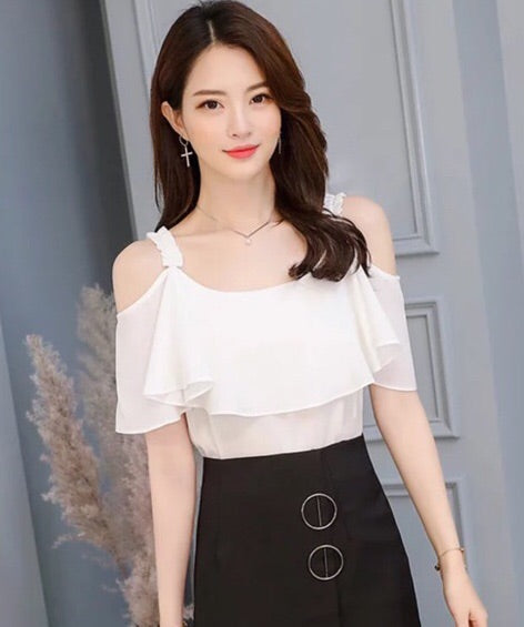Erin Cold shoulder Chiffon blouse