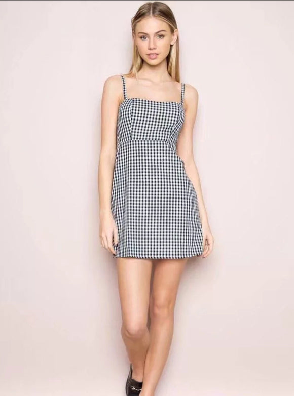 Checker spaghetti-strap Midi Dress