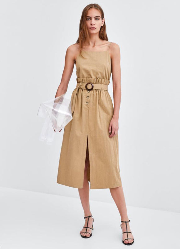 Gathered-waist button-feature midi dress