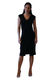 Estee Black Midi Dress with self-tie belt