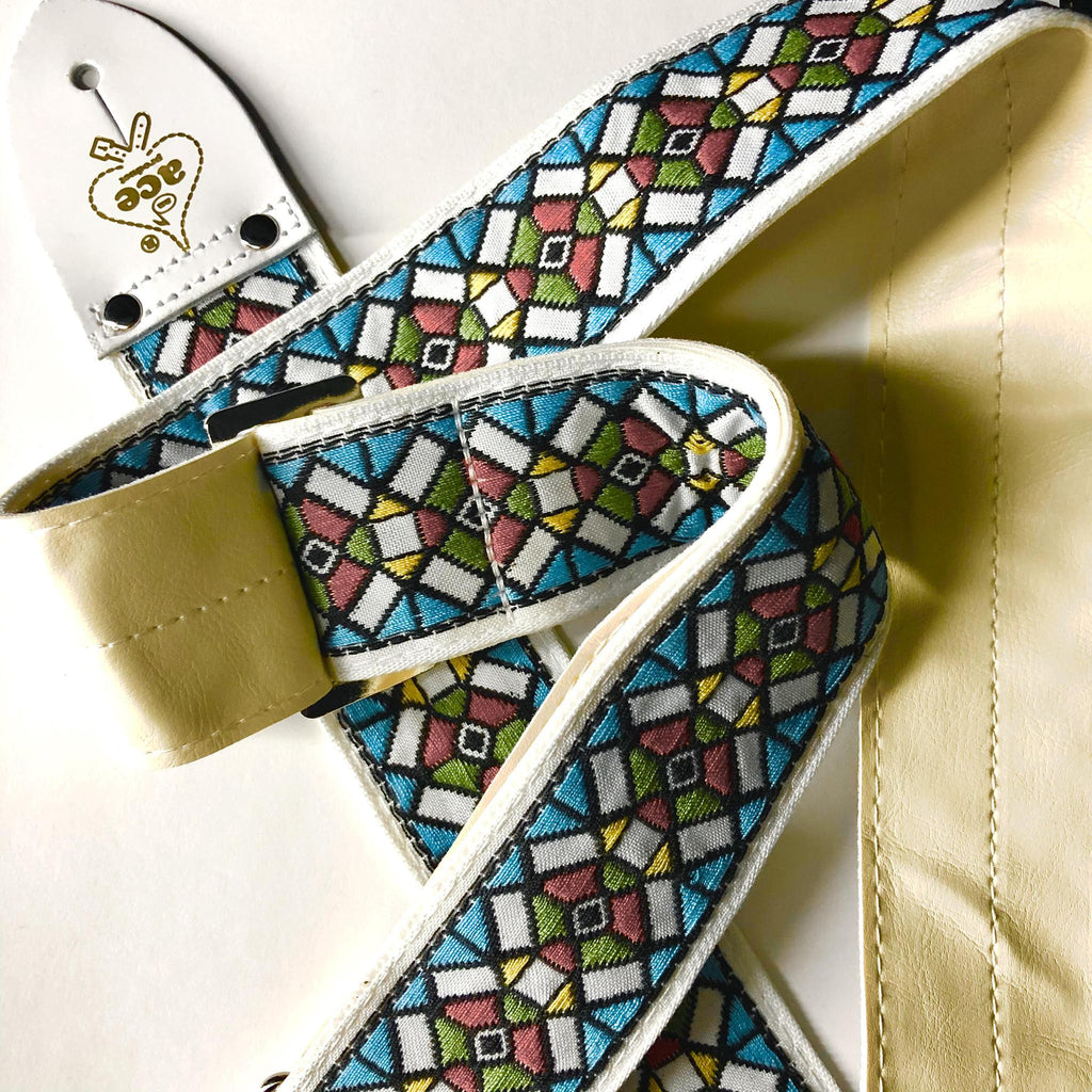 Ace Guitar Strap  Vintage Style  Stained Glass Design  D/'Andrea