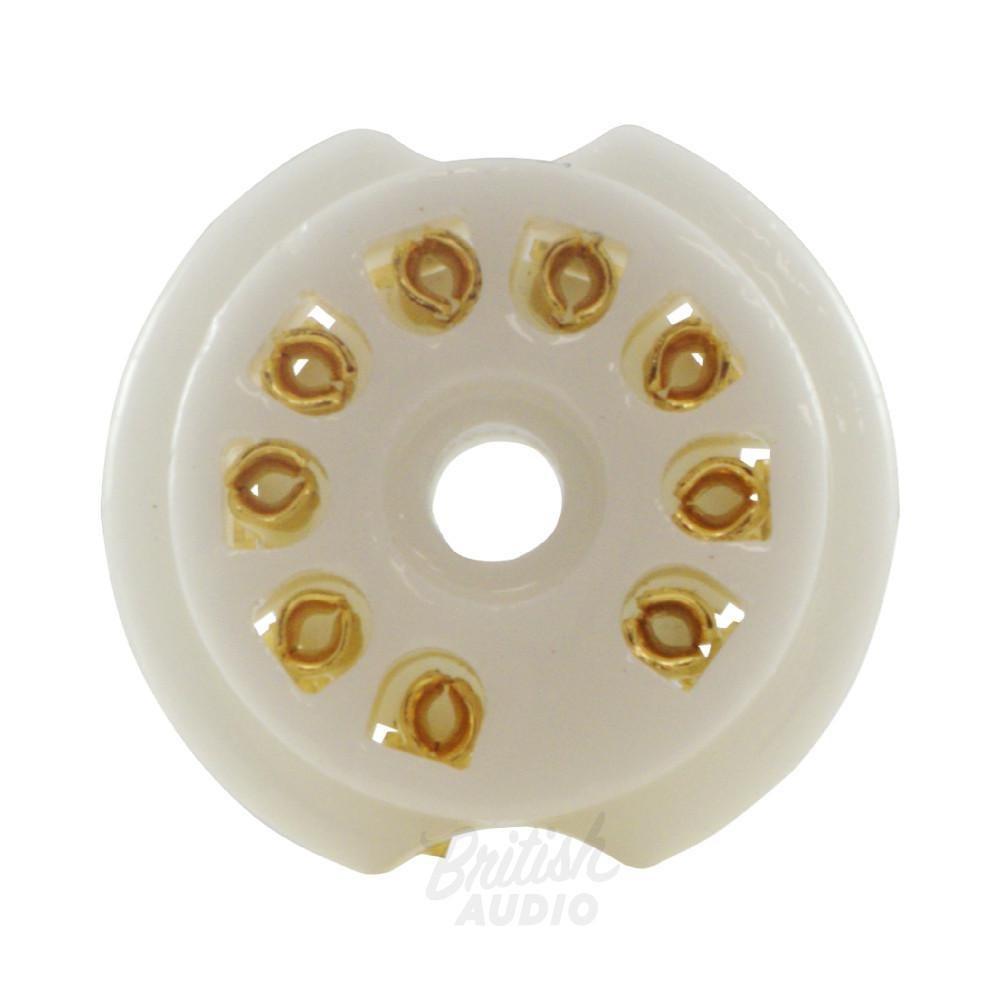 Tube Socket Gold Porcelain 9 Pin PC Mount - British Audio