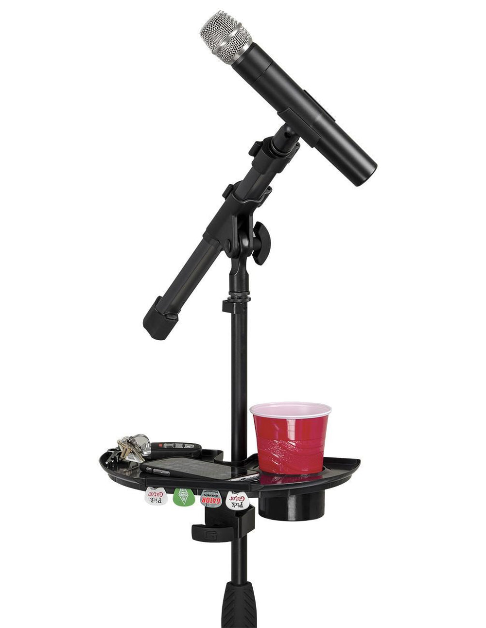 Gator Frameworks Microphone Stand Accessory Tray with Drink Holder and Guitar Pick Tab - British Audio
