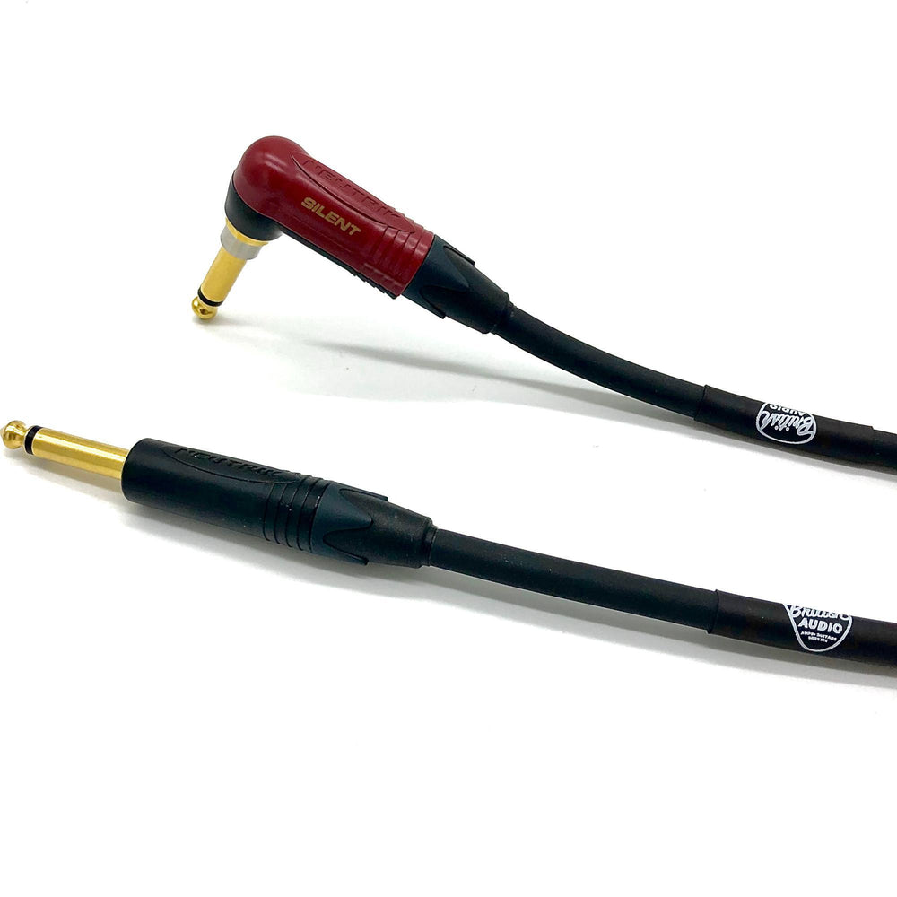 British Audio Pro Performance Silent Instrument Cable - Right Angle Silent to Straight (Black Jacket) - British Audio