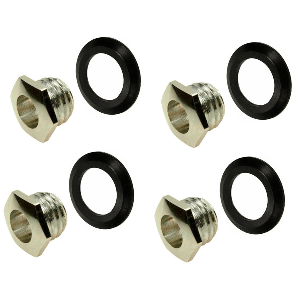 "4 x Vox Jack Chrome Nut & Black Washer Bezel for 1/4"" Input Output Jack - Set"