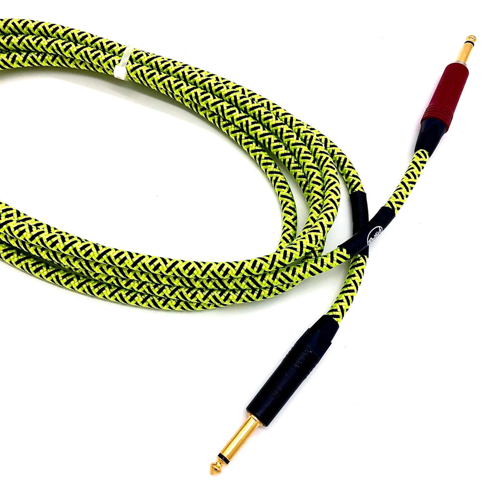 British Audio Pro Performance Silent Instrument Cable - Straight Silent to Straight (Trace Elliot Neon Green & Black Braid) - British Audio
