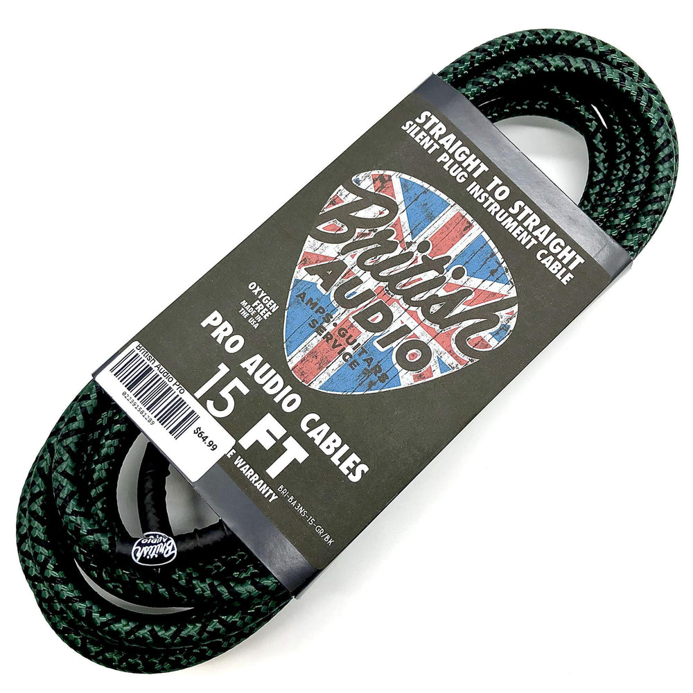 British Audio Pro Performance Silent Instrument Cable - Straight Silent to Straight (Kemper Green & Black Braid) - British Audio