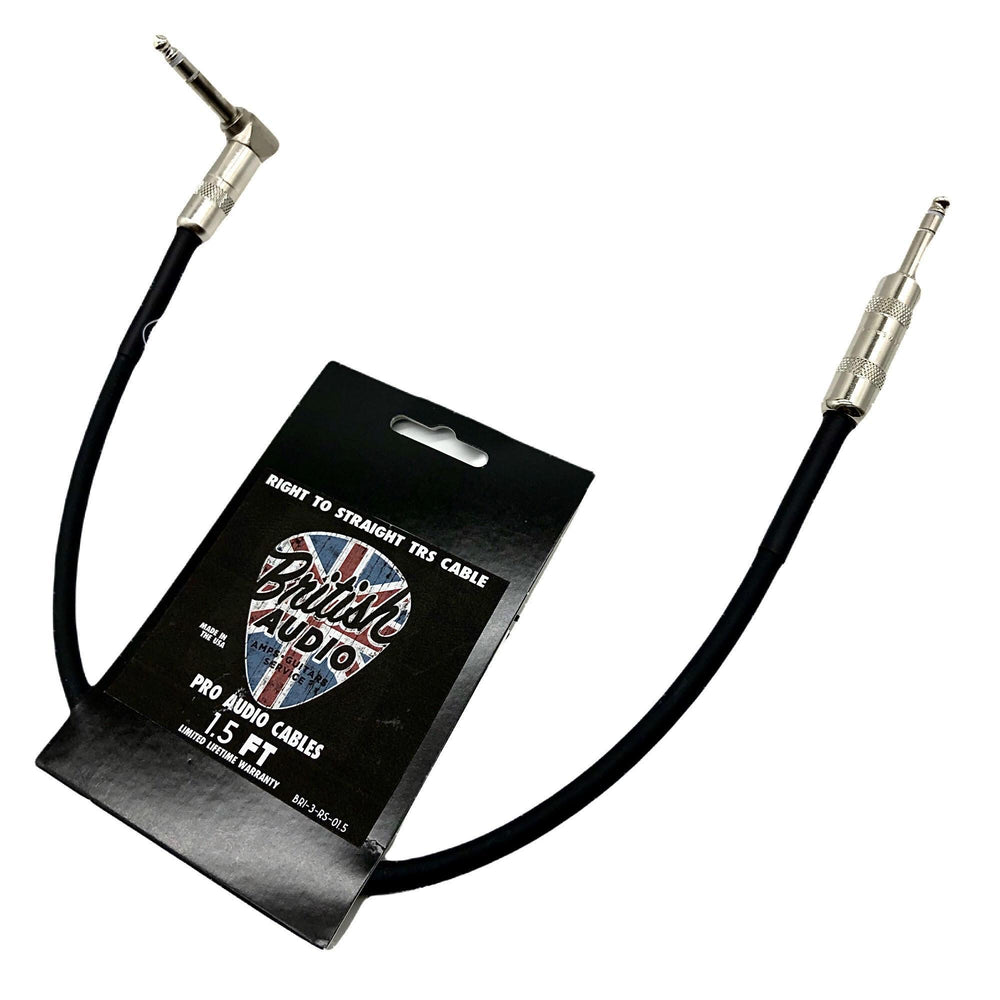 British Audio Pro Performance Right Angle to Straight TRS Stereo Patch and Expression Cable