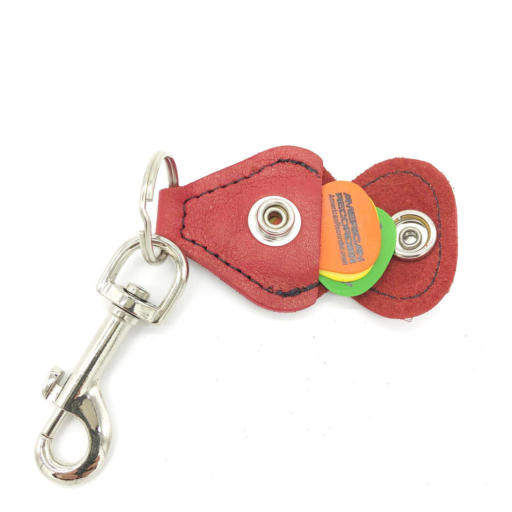Rustic Guitar Pick Holder Key Chain Leather Red - British Audio