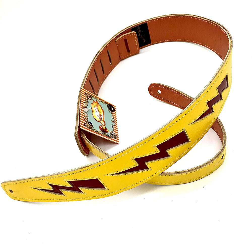 "Henry Heller Leather Strap 2"" Bolt Series  Yellow/Red - British Audio"