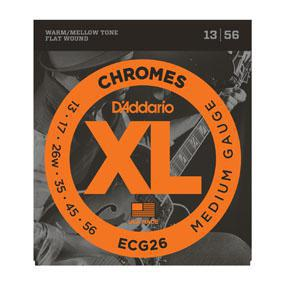 D'Addario ECG26 Chromes Flat Wound, Medium, 13-56 - British Audio