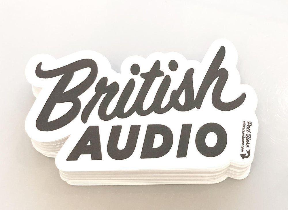 "British Audio Script Sticker, 2""x4""  Black and White - British Audio"