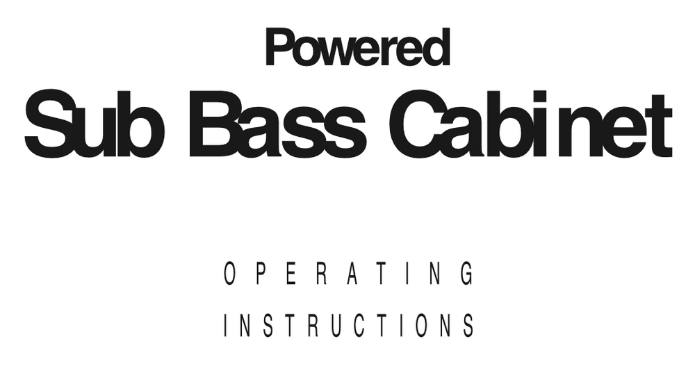 Trace Elliot Powered Sub Bass Cabinet User Manual