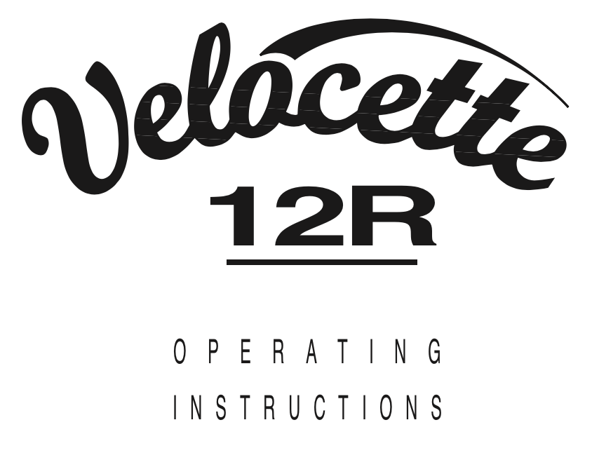 Velocette 12R User Manual | Trace Elliot Parts