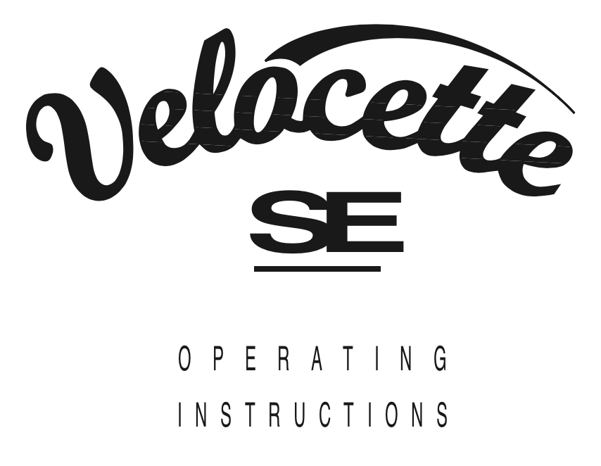 Trace Elliot Velocette SE User Manual - British Audio