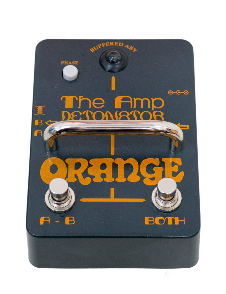 "Orange ""The Amp Detonator"" ABY Pedal Front View Angled"