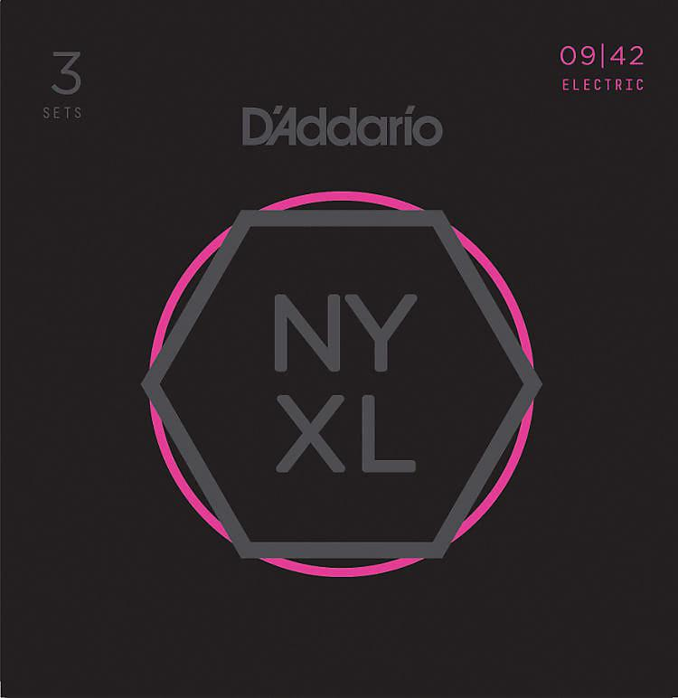 D'Addario NYXL0942-3P Nickel Wound Electric Guitar Strings, Super Light, 9-42, 3 Sets
