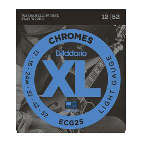 D'Addario ECG25 Chromes Flat Wound, Light, 12-52 - British Audio