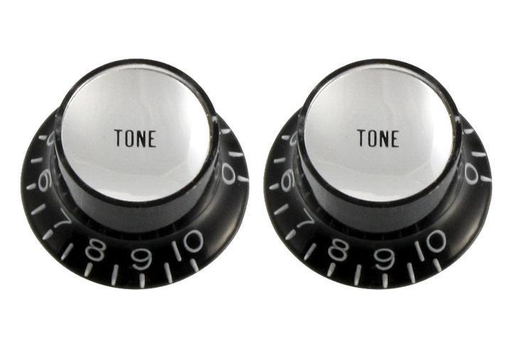 Set of 2 Tone Reflector Knobs (Black and Silver) Allparts PK-0182-023 - British Audio