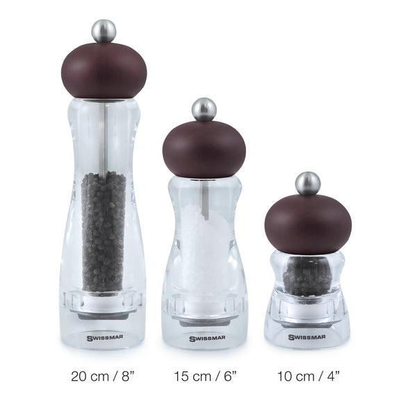 Salt and Pepper Mill | Clear Acrylic with Chocolate Top | Andrea | Swissmar