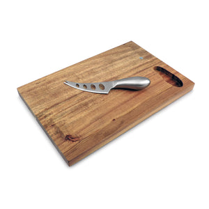 Cheese Serving Board Set | Mini Acacia Wood with Stainless Steel Knife | Swissmar