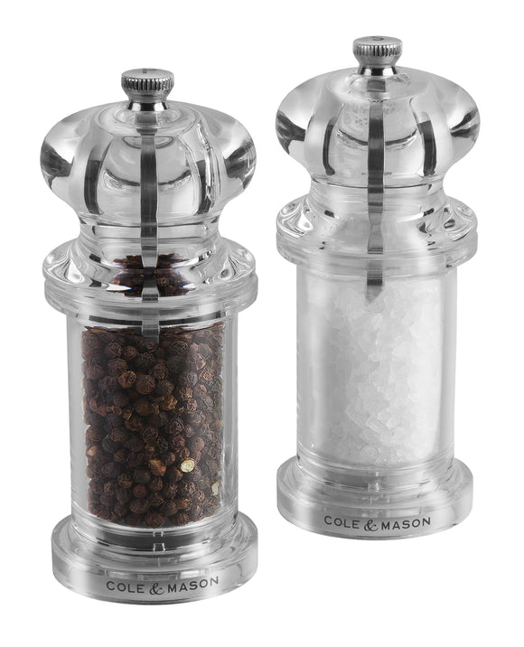 Salt and Pepper Mill Set | Clear Acrylic | 505 Classic Precision | Cole & Mason