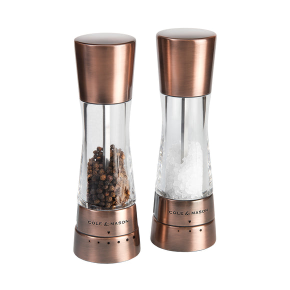 Salt and Pepper Mill Set | Clear Acrylic and Copper | Derwent | Cole & Mason
