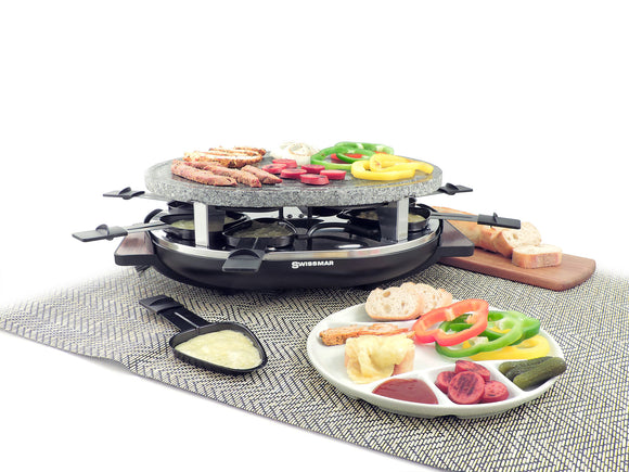 Swissmar 8 Person Matterhorn Raclette Party Grill with Granite Stone Grill Top