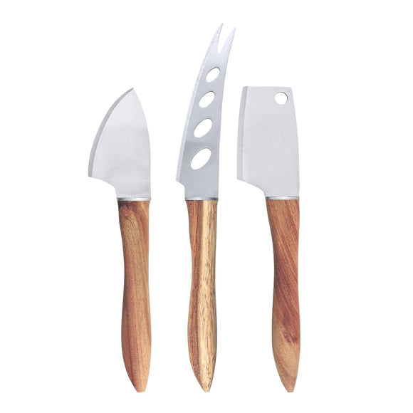 Swissmar 3 Pc Acacia Handle Cheese Knife Set