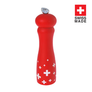 Salt and Pepper Mill | Glossy Red with White Crosses | Swissy | Swissmar