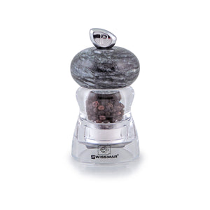 Salt and Pepper Mill | Clear Acrylic with Granite Top | Andrea | Swissmar
