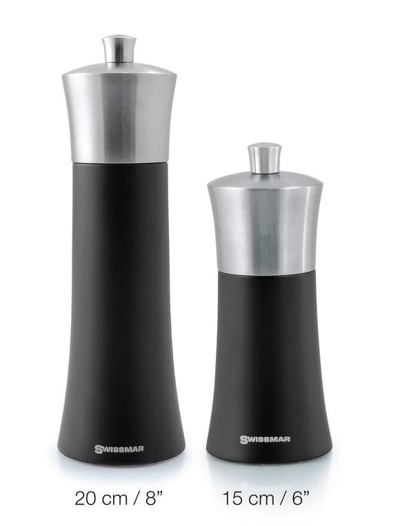 Swissmar Torre Black Matte Wood Mill with Stainless Steel Top