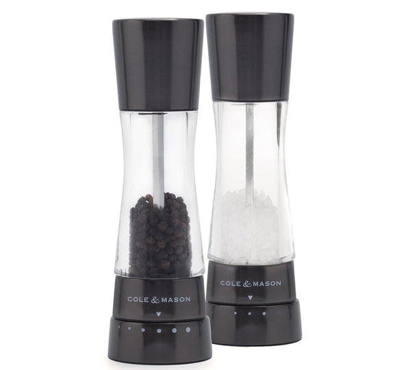 Salt and Pepper Mill | Acrylic and Gun Metal | Derwent | Cole & Mason