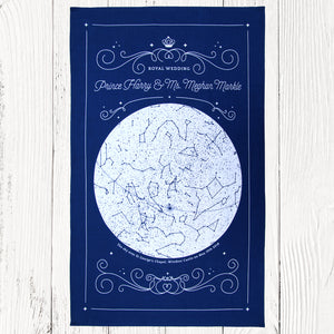 Commemorative Royal wedding star map tea towel in blue