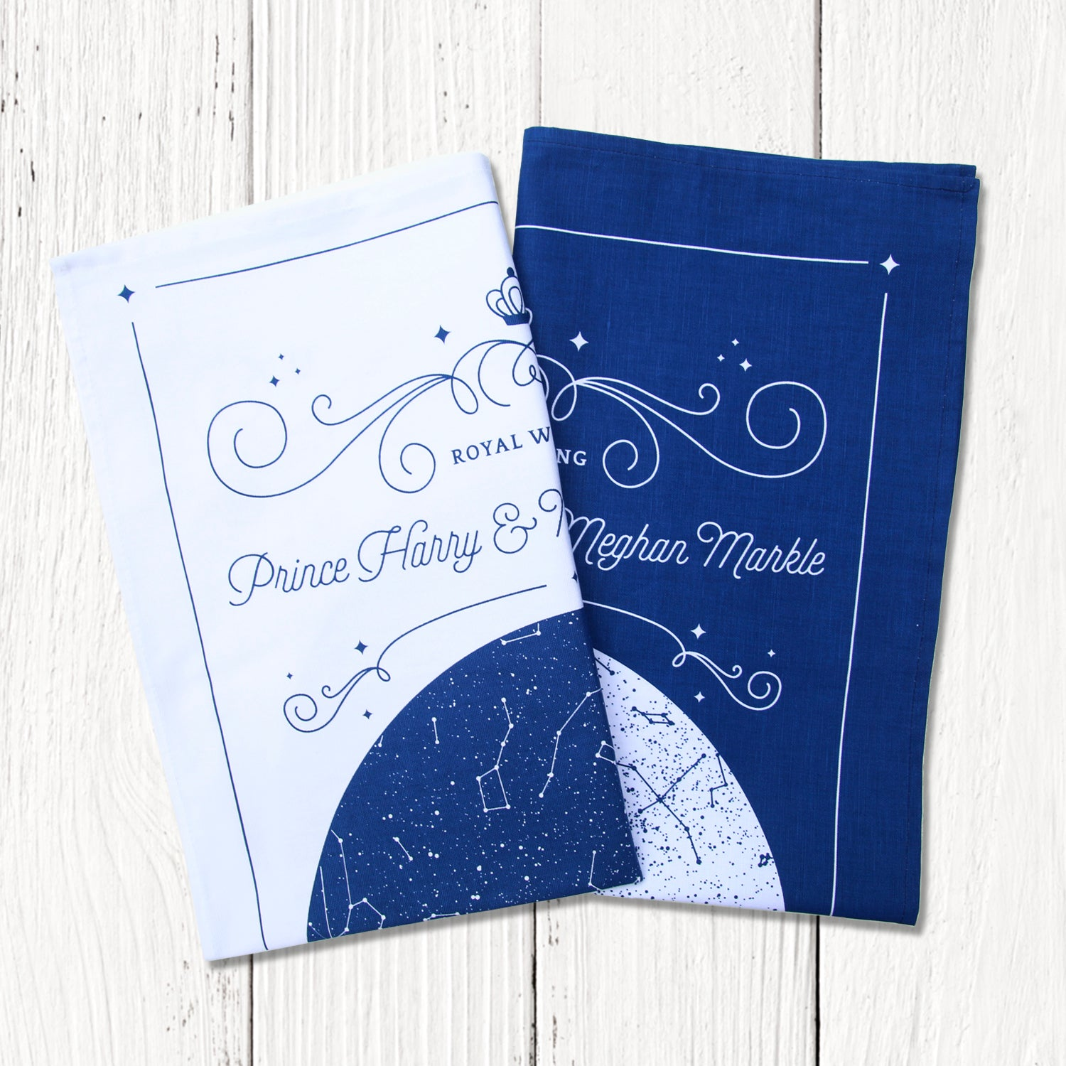 set of 2 co-ordinated white and blue Royal Wedding Tea towels